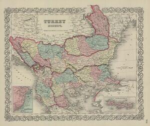 1860-Colton-039-s-034-TURKEY-IN-EUROPE-034-the-Balkans-original-steel-plate-engraving