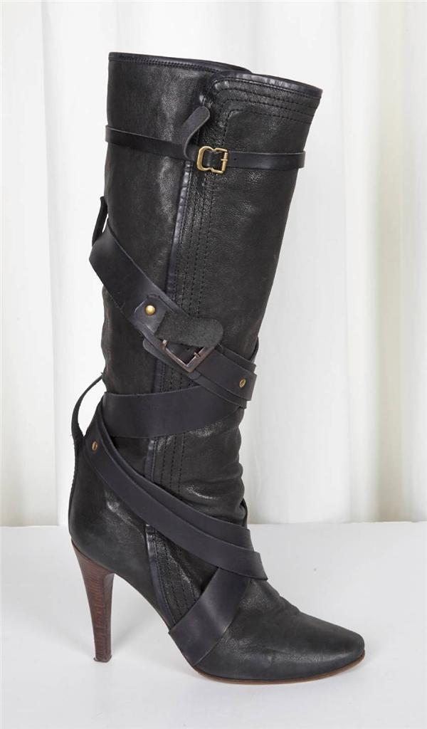 CHLOE Womens Black Leather Criss-Cross Straps High-Heel Tall Boots 9.5-39.5