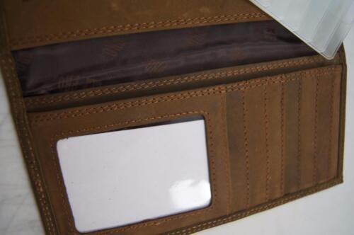 ZEP-PRO MOSSY OAK CAMO LOGO  Roper CRAZY HORSE Leather Wallet BURLAP Gift  BAG