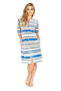 Image is loading Women-Knee-Length-Cotton-Zip-Up-Housecoat-Bathrobe- 4ed0cb51a