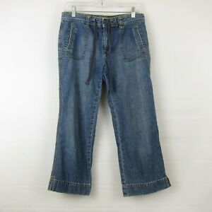 Old-Navy-Womens-Denim-Capris-Blue-Jeans-Cropped-100-Cotton-Medium-Wash-Size-8