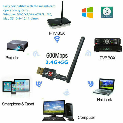600Mbps Dual Band 2.4//5Ghz Wireless USB WiFi Network Adapter w//Antenna 802.11 FD