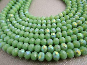 100 Pcs Rondelle Verre à Facettes Crystal Beads 6 Mm Vert Olive Ab-afficher Le Titre D'origine