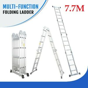 NEW 7.7M Multi Purpose Aluminium Folding Extension Ladder Platform Step Fold