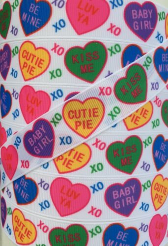 """5 yds 7//8/"""" COLORFUL VALENTINE CONVERSATION HEARTS GROSGRAIN RIBBON 4 HAIRBOW BOW"""