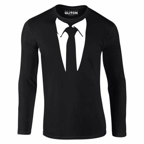 Men/'s Suit Long Sleeve T-Shirt Funny Fancy Dress Smart Wedding Interview