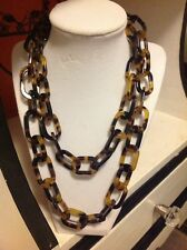 NWOT Faux Tortoise Link Long Oval Chain Necklace Anthropologie