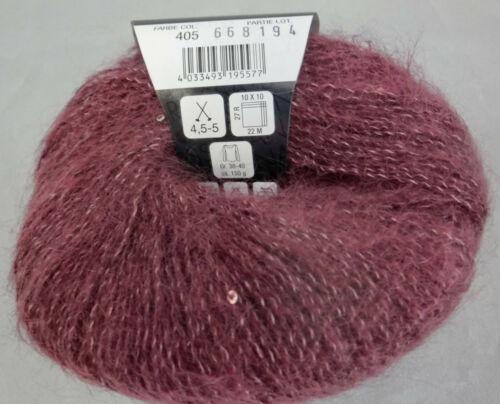 39,80 €//100 g 25 G LG Silkhair paillettes fb.405 rouge foncé #4049