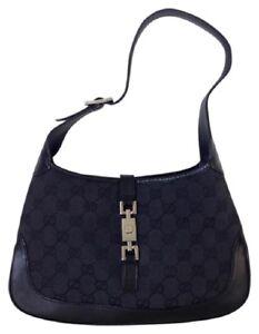 Image Is Loading Gucci Vintage Gg Logo Black Jackie O Handbag