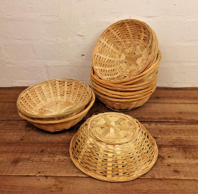 Natural Bamboo Wicker Bread Food Basket Storage Hamper Display Trays