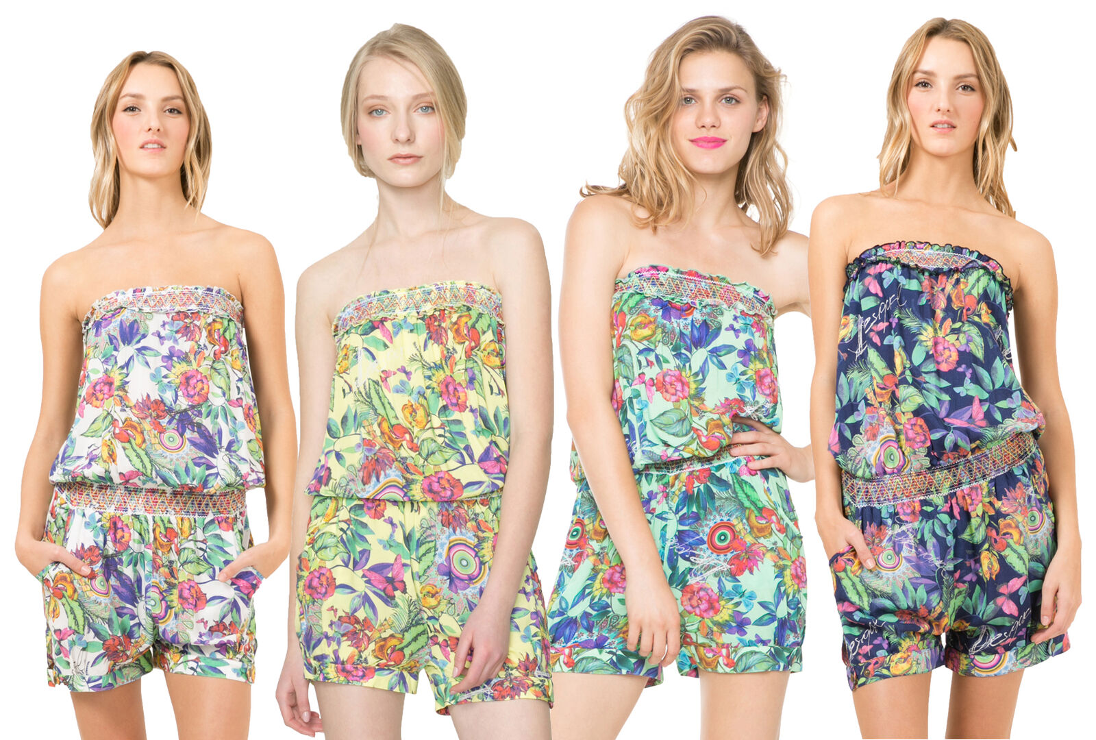 Desigual Printed Floral Barbara Playsuit Beach Cover Up S-XL RRP44