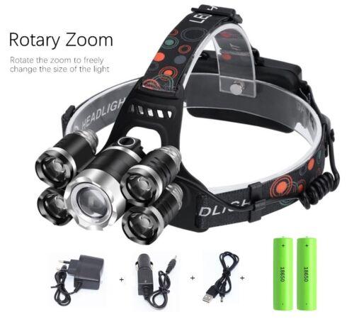 20000LM 5 Head XM-L T6 Q5 LED Headlamp Zoomable Headlight Torch Flashlight 18650