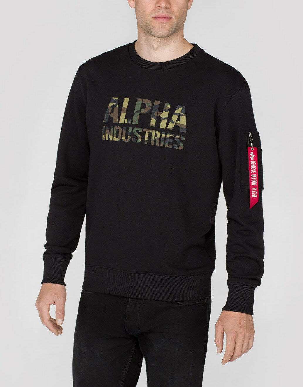 ALPHA INDUSTRIES Sweatshirt  Camo Print Sweat    schwarz Woodld.380 (176301) Logo