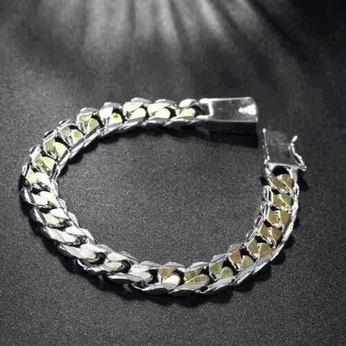 Nouveau 925 Sterling Argent massif homme bijoux Or 10 M Chaîne Bracelet Pour Femmes H091