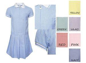 Girls School Dress Uniform Gingham Summer Blue Red Green
