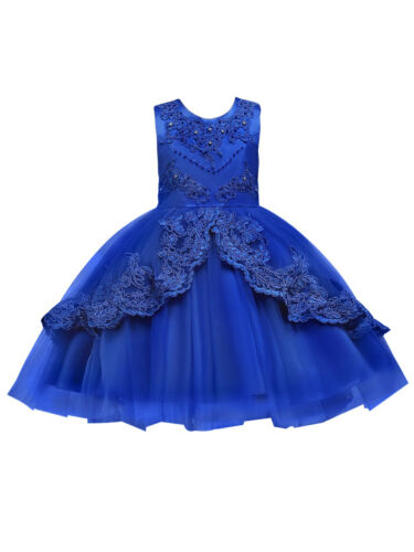 Rainkids Little Girls Royal Blue Embroidered Applique Hi-Low Flower Girl Dress