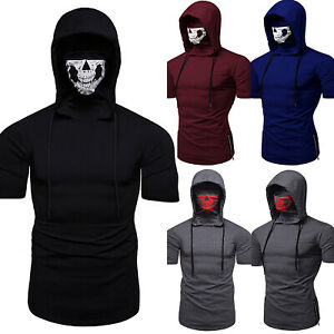 Men-Boy-with-Mask-Hoodie-Short-Sleeve-T-Shirts-Slim-Fit-Muscle-Sports-Casual-Top