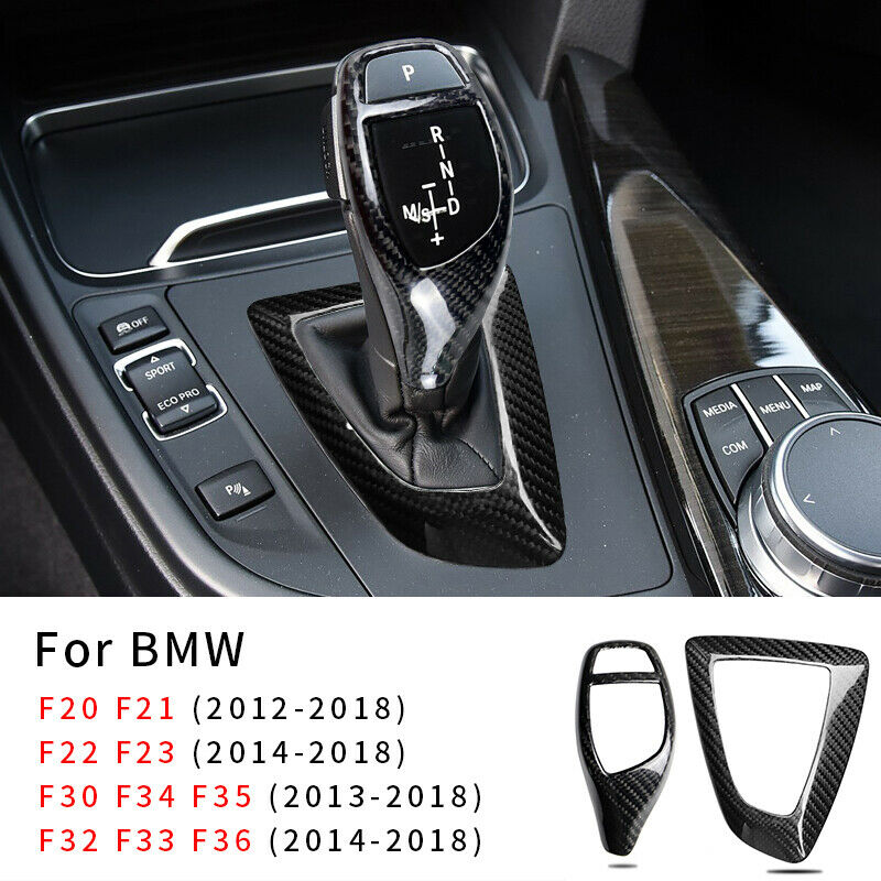 MICOOS Replacement for Gear Leaver Trim Carbon Fiber Gear Head Cap Sticker Interior Accessories for BMW F20 F21 F25 F15 F16 I8 Red