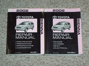 2002 toyota sienna van factory shop service repair manual set ce le rh ebay com toyota sienna 2004 manual pdf 2002 toyota sienna owners manual