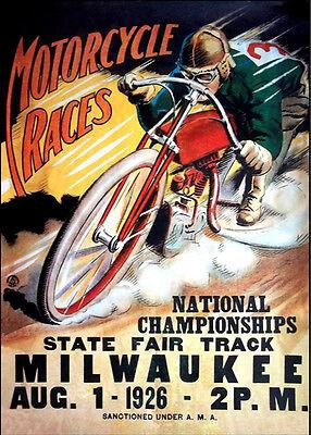 1926 MILWAUKEE FAIR Motorcycle Race Vintage Poster T-Shirt Motorbike 12 Sizes