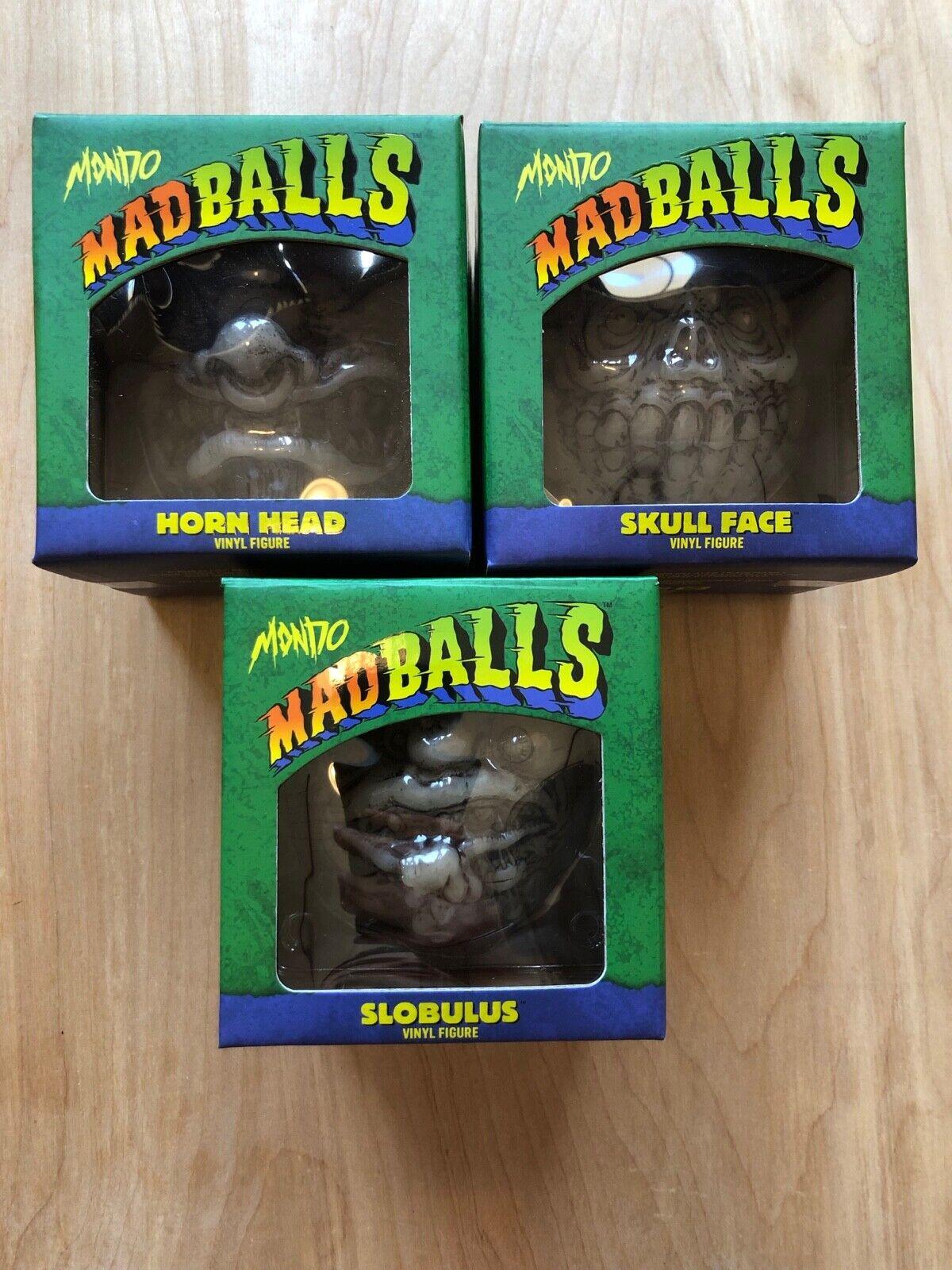 Mondo MadBalls Glow In The Dark Full Set Slobulus Skull Face Horn Head 80s Toys