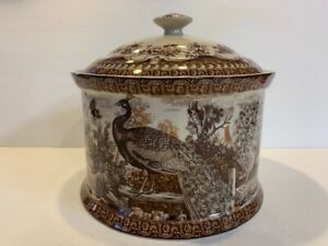 Vintage-Transferware-Brown-Peacock-Biscuit-Canister-with-Lid