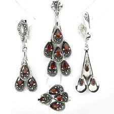 Sterling silver 925 Garnet & Marcasite Pendant, Earring & Ring Set Sz P.5 (US 8)