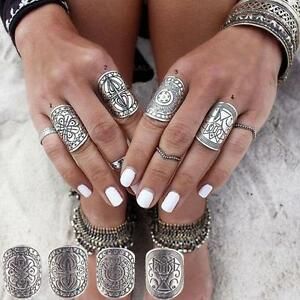 4-pcs-Gypsy-Antique-Carved-Totem-Midi-Rings-Boho-Silver-Plated
