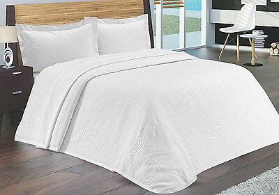 New Luxury Heavy Cotton Double Bedspread Throw - Cream or White - 3 Designs