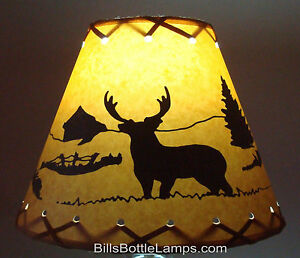 DEER-Table-Light-Cabin-Cottage-LAMP-SHADE-Clip-On-Bulb-Style-9-034-inch-Laced-Cone