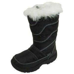 GIRLS-KIDS-BLACK-WINTER-WARM-FUR-ZIP-ICE-SNOW-RAIN-SKI-THERMAL-BOOTS-SIZES-10-2
