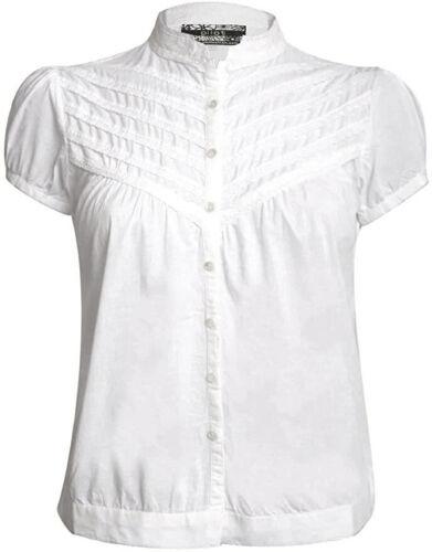 Blouse Shirt High Neck Cap Sleeve Button Front Blouse UK