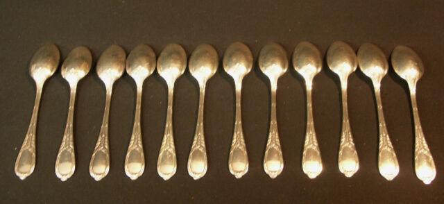 A 1900 ERCUIS 12 petites cuillère métal argent modèle au GUI couverts ménagère