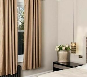 Pair-of-Silky-Effect-Blackout-Pencil-Pleat-Curtains-in-Rustic-Brown-Colour