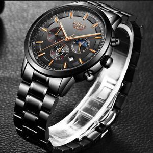 LIGE-Men-039-s-Luxury-Stainless-Steel-Date-Analog-Quartz-Waterproof-Wrist-Watch-Gift