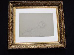 Magnifico-disegno-del-XIX-secolo-e-di-Jean-Desbrosses-034-giovane-donna-distesa-034