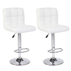 Image Is Loading Set Of 2 Counter Height White Leather Bar