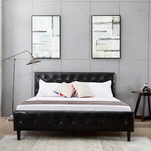 Queen-Size-Black-PU-Leather-Button-Tufted-Upholstered-Platform-Metal-Bed-Frame