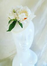 Ivory Cream Peonie Rose Vintage Wedding Races PillBox Hat Facinator Hair Clip