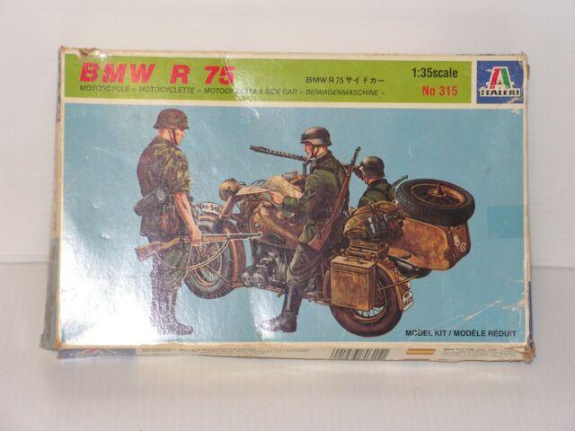 ITALERI #315 1/35  BWW R 75 MOTORCYCLE/ WITH SIDECAR OPEN