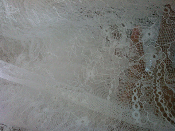 1yard-black lace fabric ,off white wedding dress lace material ,DIY wedding-0003