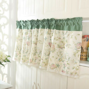 Details about Floral Coffee Curtain Kitchen Windows Curtain Door Half  Curtain Cafe Curtains W
