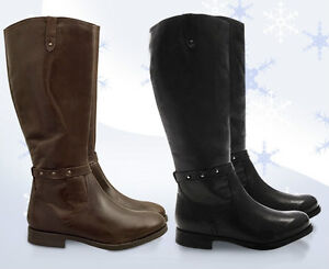 LADIES-WOMENS-NEW-REAL-LEATHER-RIDING-BIKER-KNEE-HIGH-ZIP-UP-BOOTS-SHOES-SIZE