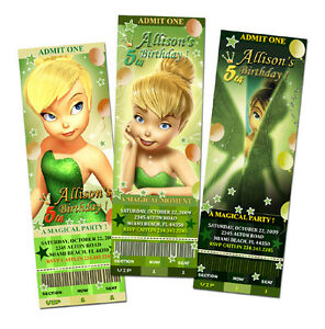 designs  tinkerbell fairies birthday party invitation ticket, party invitations