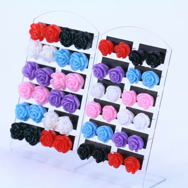 Acrylic Cheap 12 Pairs Resin Rose Flower Ear Stud Nickel Earring Mixed Color