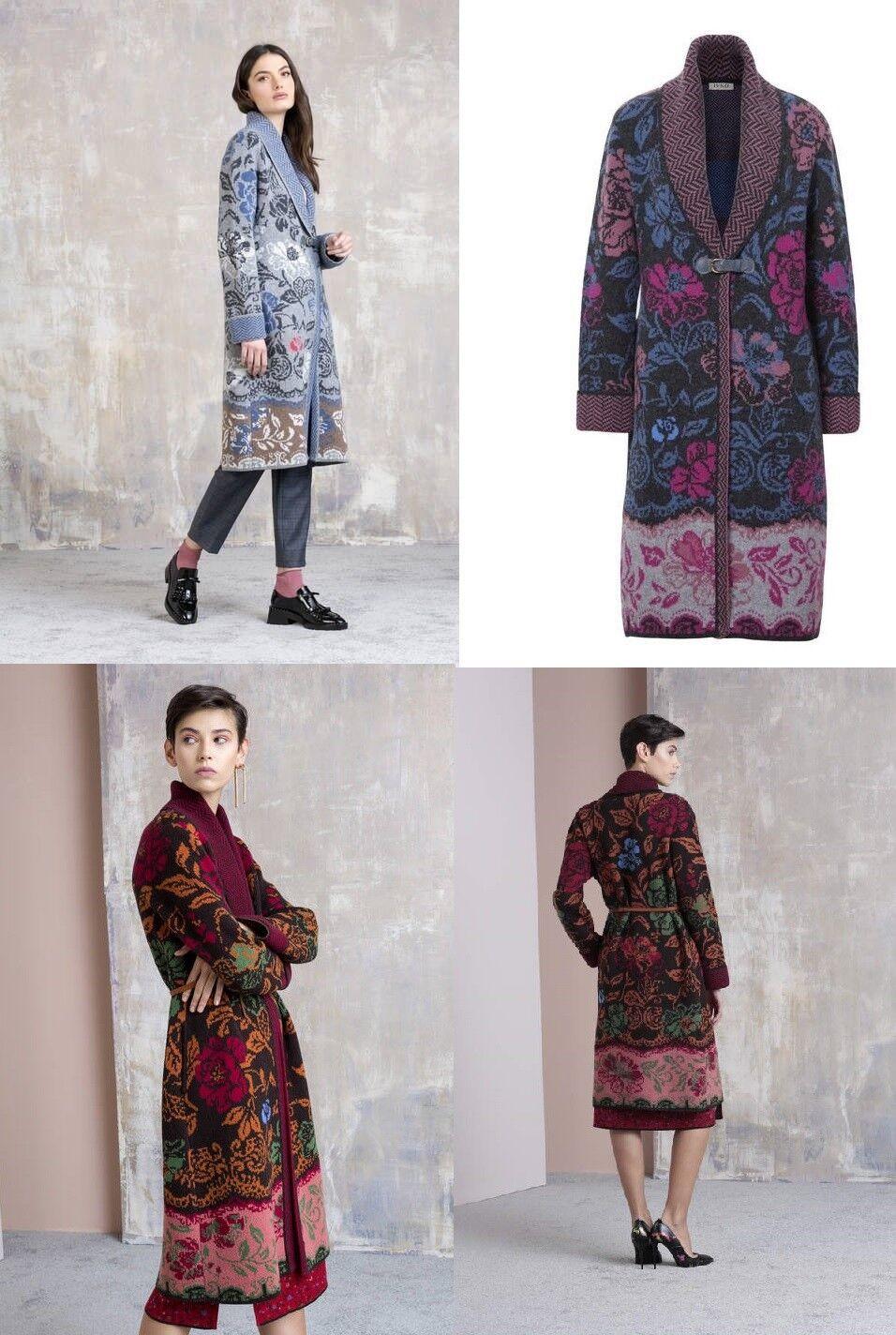 IVKO Coat blå grå Sones Lana Wool Coat med Floral fantasi 8202