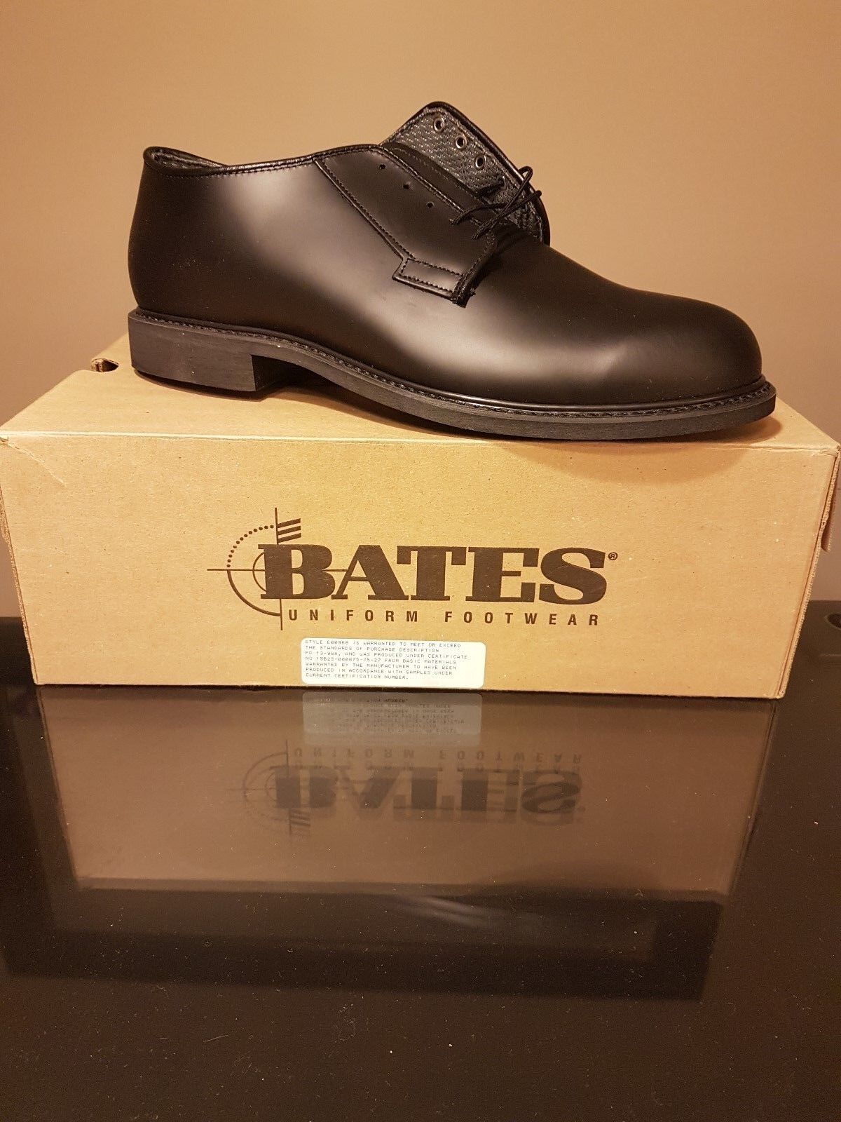 Bates Men's LEATHER OXFORD Black shoes E00968 Made in the USA - Size 13 E (W)