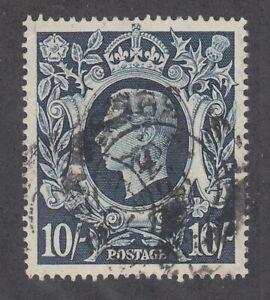 Great-Britain-Sc-251-used-1942-10sh-indigo-KGVI-fresh-sound