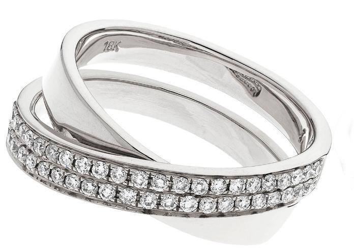 0.30ct F VS Brilliant Cut Diamond Credver  Shaped Wedding Ring 18ct White gold
