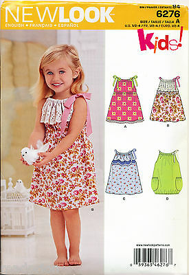 NEW LOOK SEWING PATTERN 6276 TODDLERS/GIRLS ½-4 EASY DRAWSTRING DRESSES, FLOUNCE